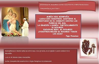 Invitación a rezar el Santo Rosario el 18 de cada mes