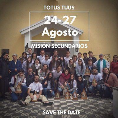 24 al 27 de agosto de 2017 –   MISION TOTUS TUUS de Universitarios