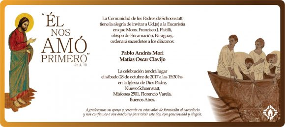 Ordenación del Diácono Pablo Andrés Mori – Buenos Aires 28 de octubre de 2017