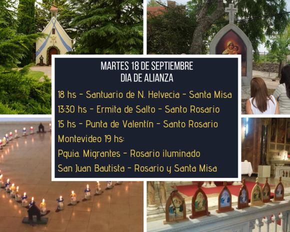 Nos consagramos a María – 18 de setiembre de 2018 – en todo Uruguay